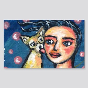 Chihuahua polka dot kiss Rectangle Sticker